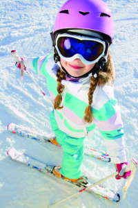 overhead-view-girl-with-braids-on-skis